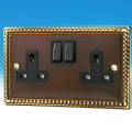 Varilight 2 Gang 13 Amp Switched Electrical Plug Socket Antique Georgian Brass Black Insert XA5B